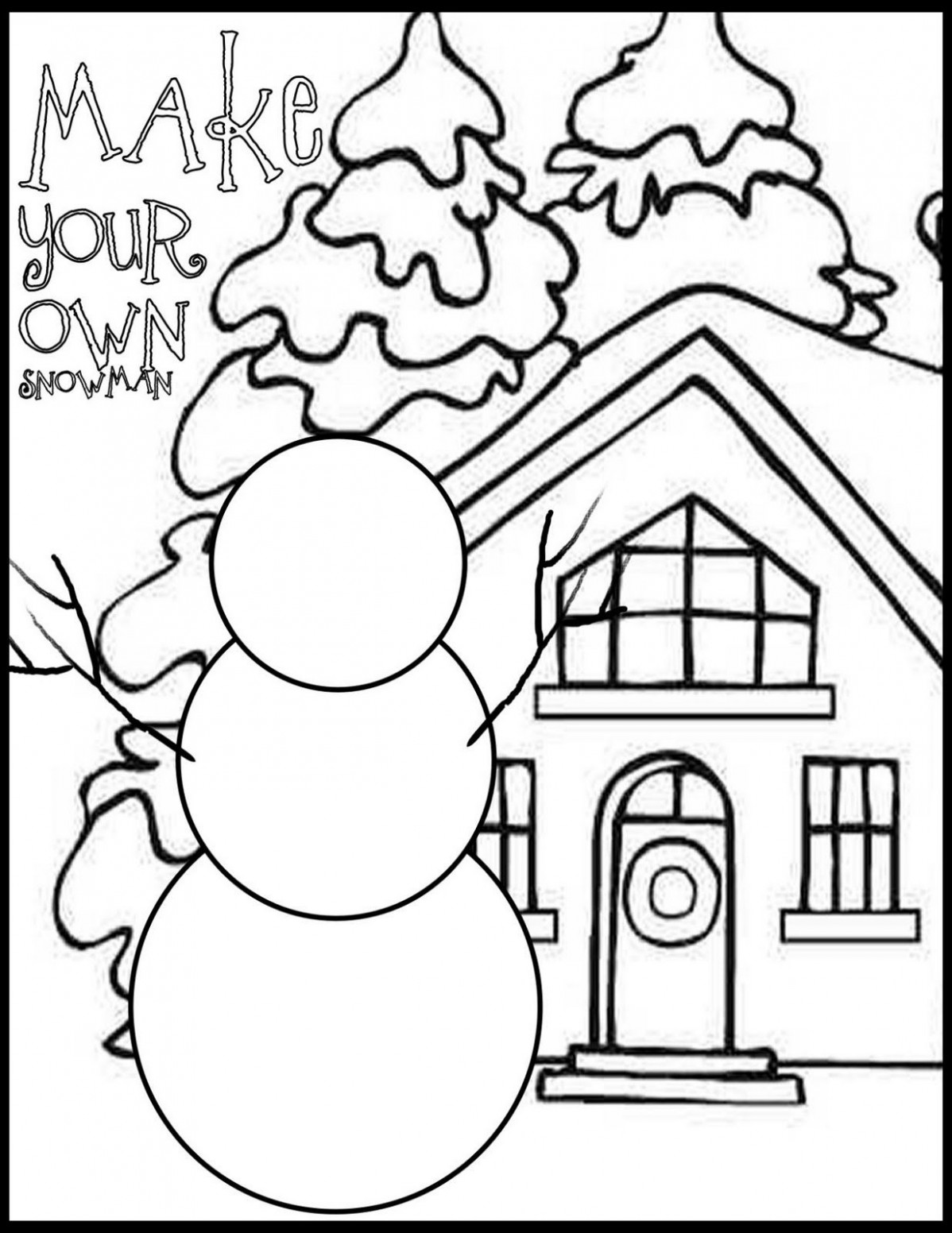 Draw Your Own Snowman Coloring Page   Christmas   Christmas coloring ..
