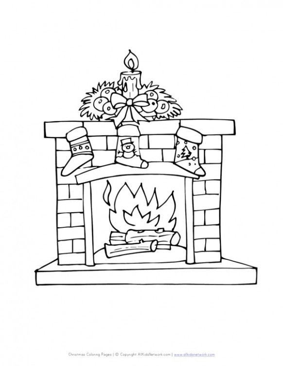 Fireplace with Stockings Coloring Page | All Kids Network – Christmas Fireplace Coloring Page