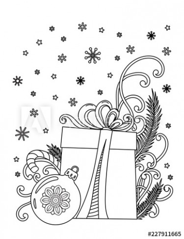 Fototapeta Christmas coloring page. Adult coloring book. Holiday ...