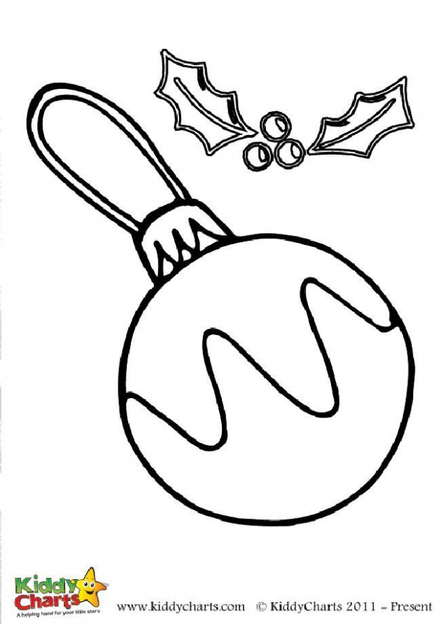 Free bauble and holly colouring page