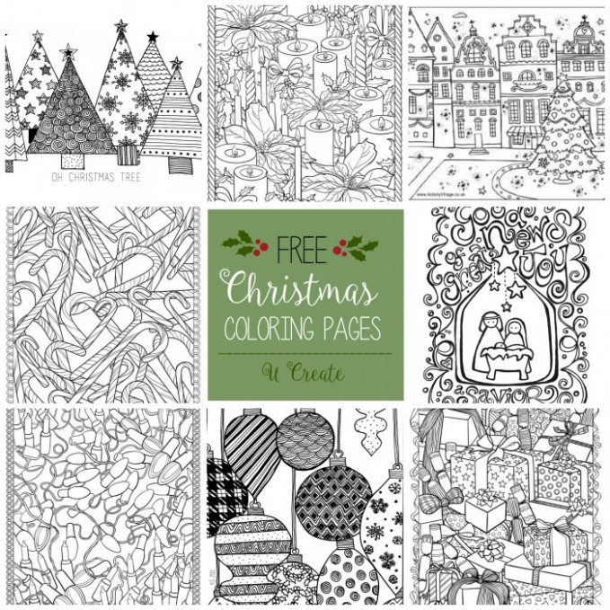 Free Christmas Adult Coloring Pages – U Create – Christmas Coloring Book Pages Printable