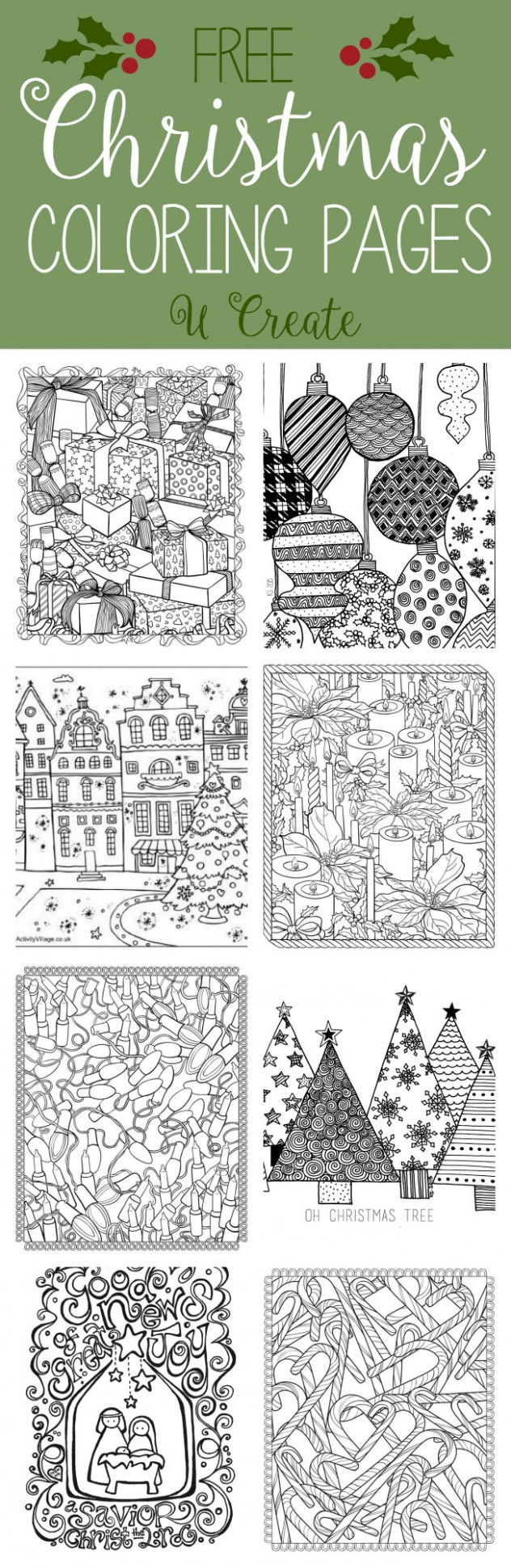 Free Christmas Adult Coloring Pages - U Create - Christmas Coloring Pages For Adults Free Printable