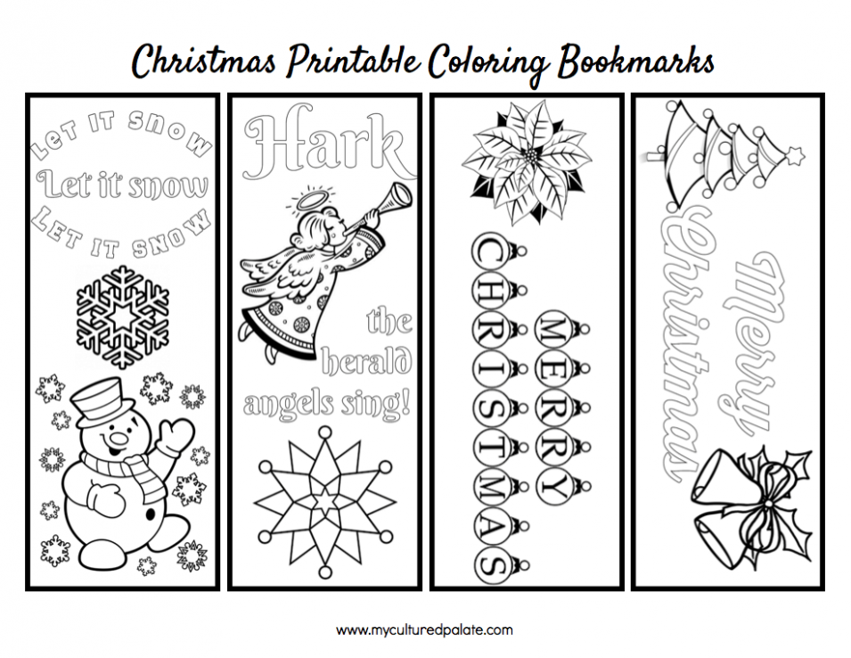 Free Christmas Bookmarks to Color | Cultured Palate – Christmas Coloring Bookmarks