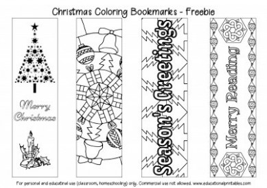 Free Christmas Coloring Bookmarks | Educational Printables - Christmas Coloring Bookmarks