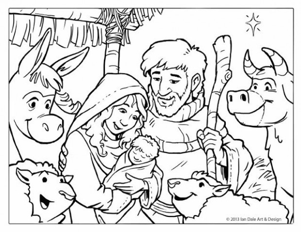 Free Christmas Coloring Page – Nativity Scene by Ian Dale ..