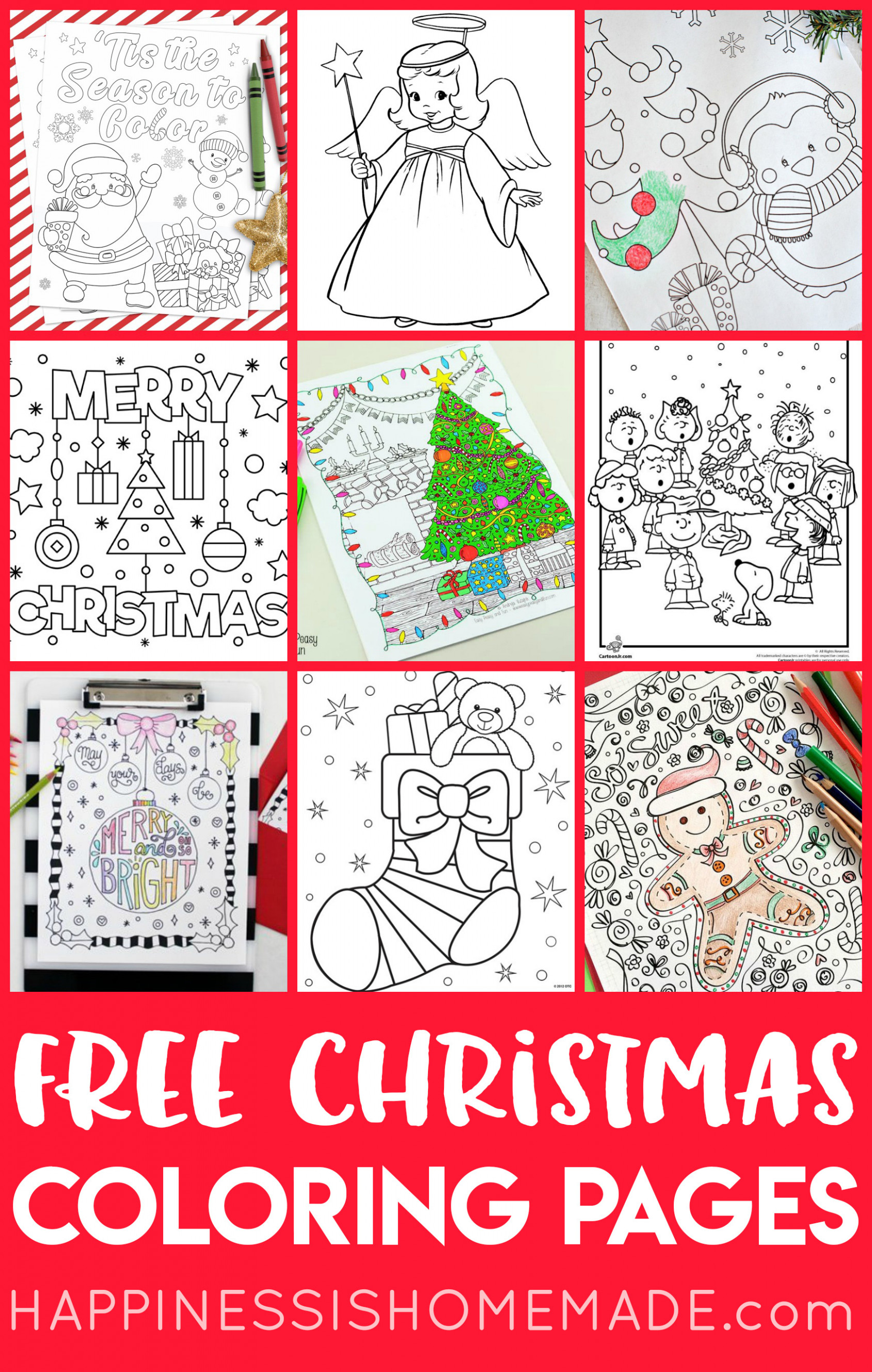 FREE Christmas Coloring Pages for Adults and Kids - Happiness is ...