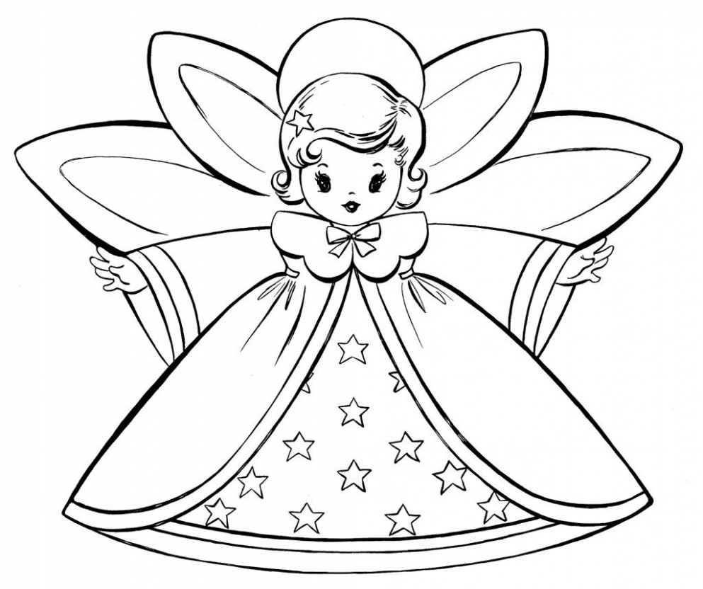Free Christmas Coloring Pages - Retro Angels | Christmas | Angel ...