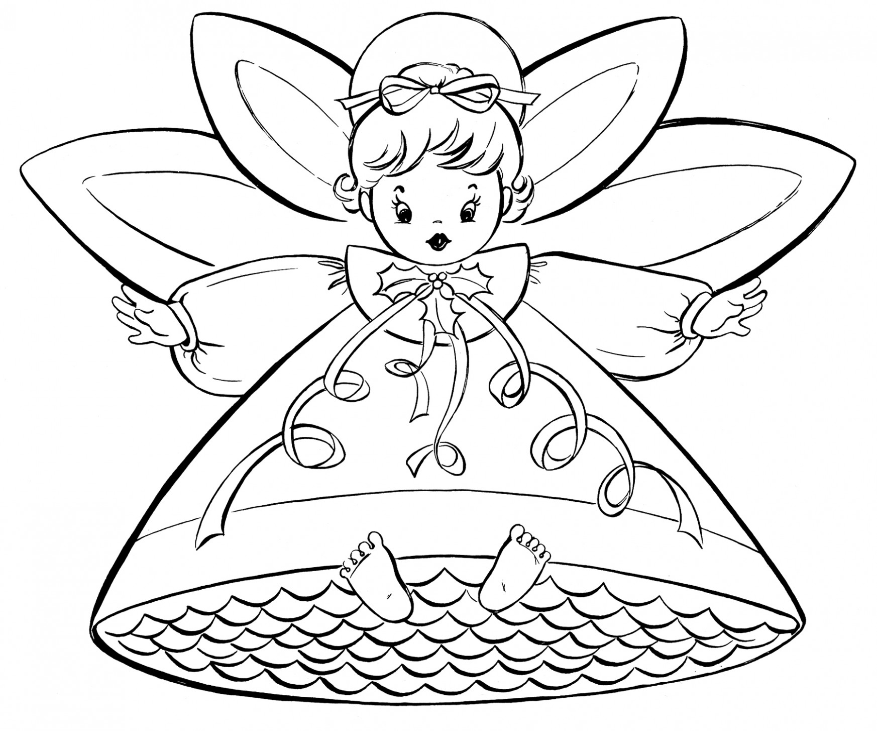 Free Christmas Coloring Pages – Retro Angels – The Graphics Fairy – Christmas Coloring Pages Angels
