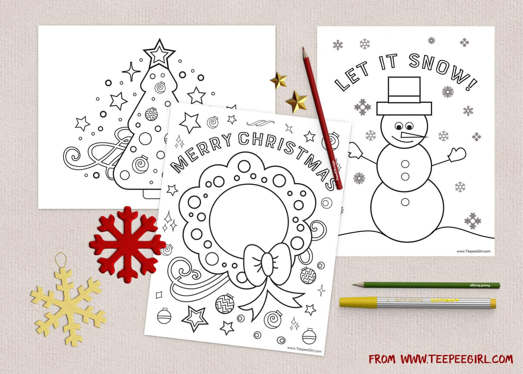 Free Christmas Coloring Pages | www.TeepeeGirl