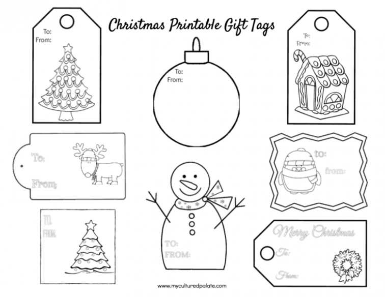 Free Christmas Gift Tags to Color | Cultured Palate – Christmas Coloring Tags