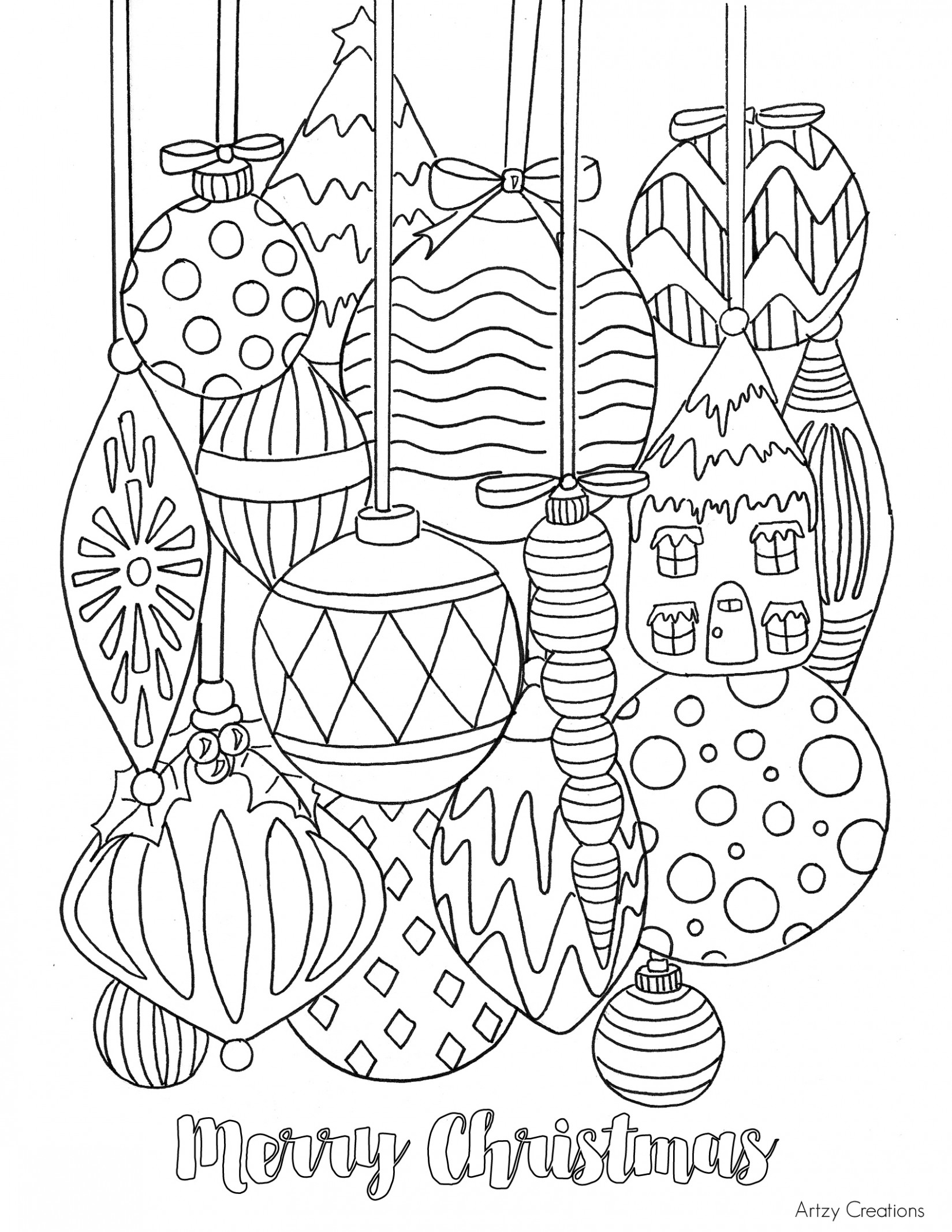 Free Christmas Ornament Coloring Page – TGIF – This Grandma is Fun – Printable Coloring Pages Christmas Decorations