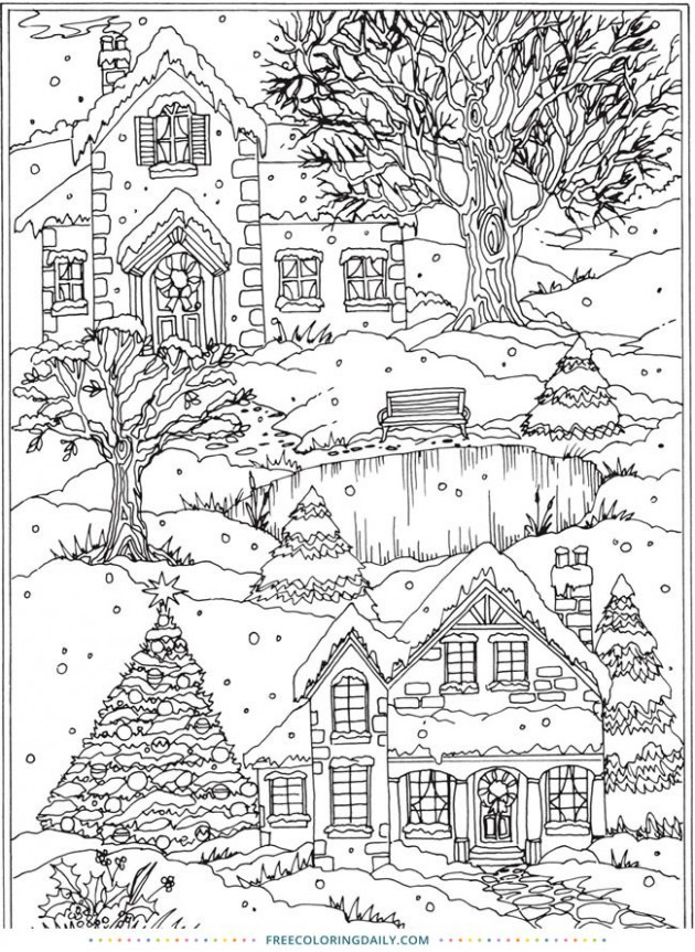 Free Coloring Page – Snowy Village | coloring page | Coloring pages ...