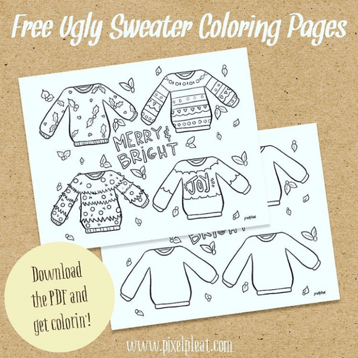 Free Coloring Pages for Grown-Ups – PIXELPLEATPIXELPLEAT – Ugly Christmas Sweater Coloring Pages