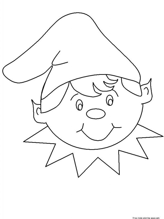 Free print out christmas elf face cut out coloring pages for kids ...