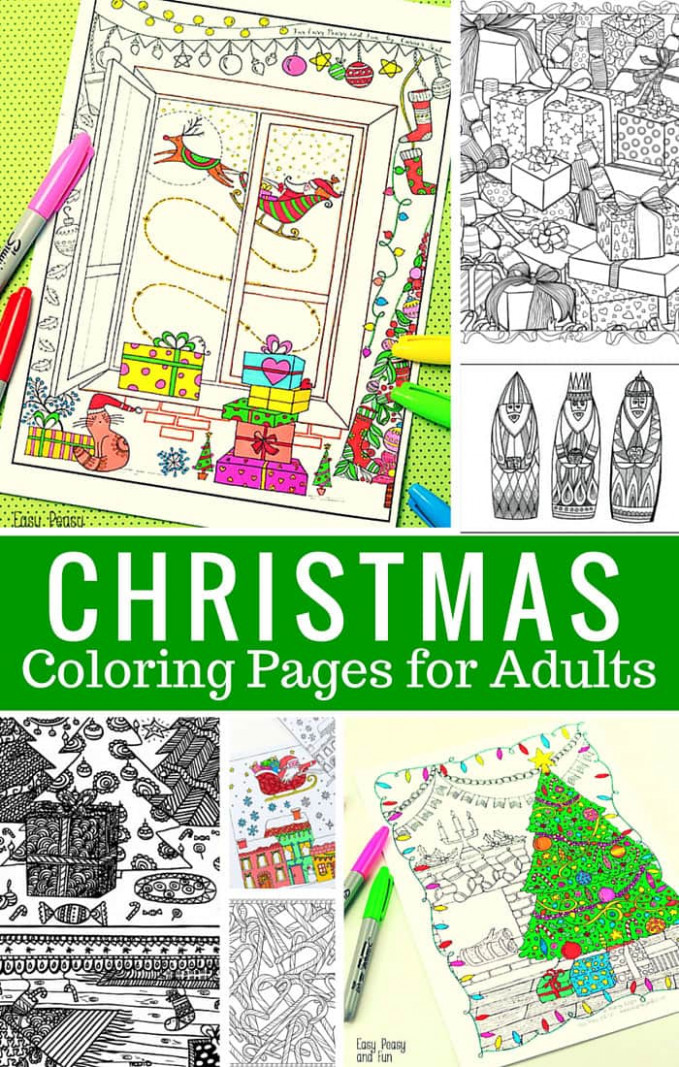 Free Printable Christmas Coloring Pages for Adults – Easy Peasy and Fun – Printable Detailed Christmas Coloring Pages