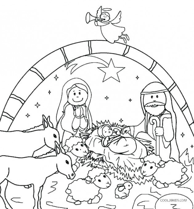 free printable nativity scene coloring pages christmas coloring ..