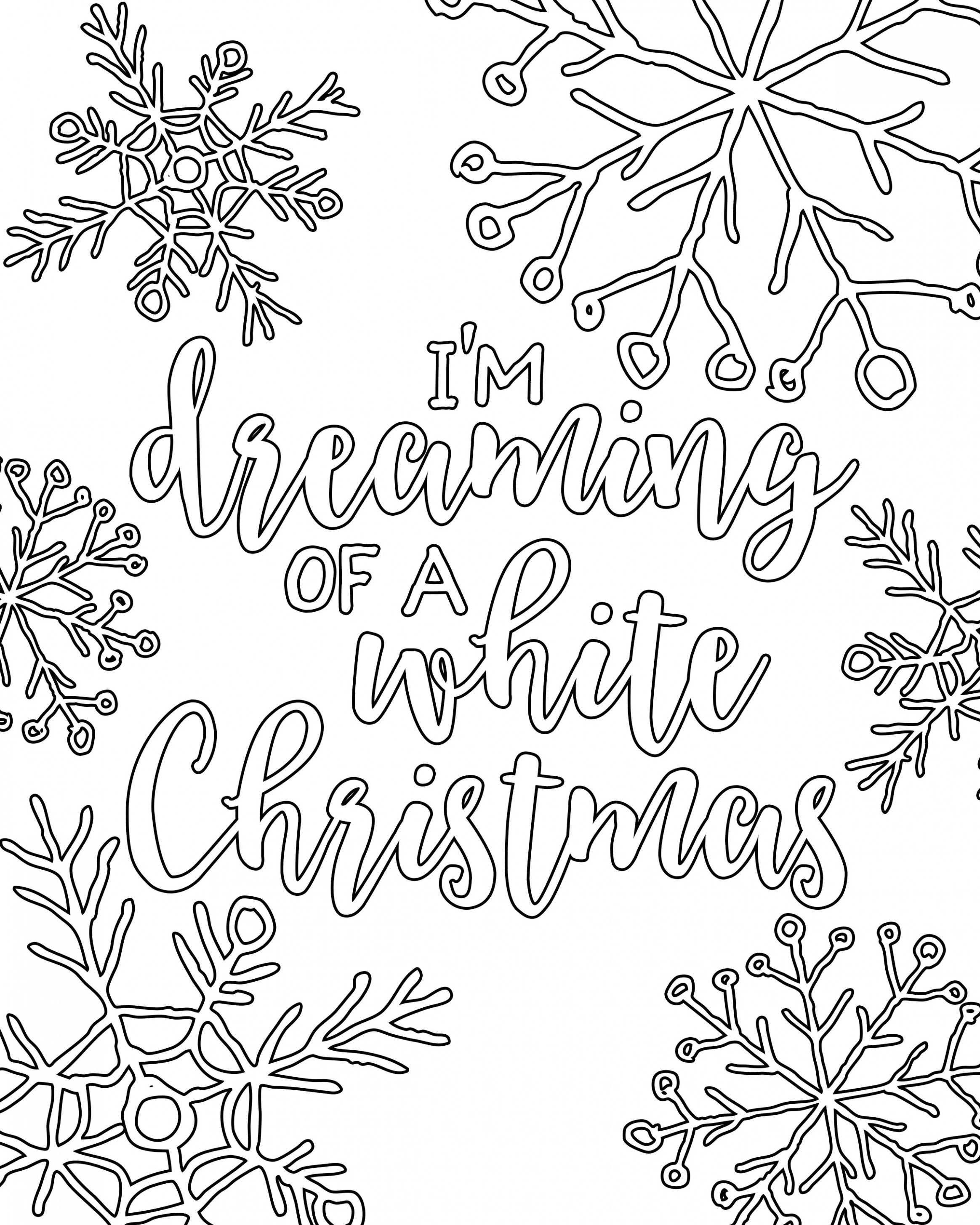 Free Printable White Christmas Adult Coloring Pages | Coloring Pages