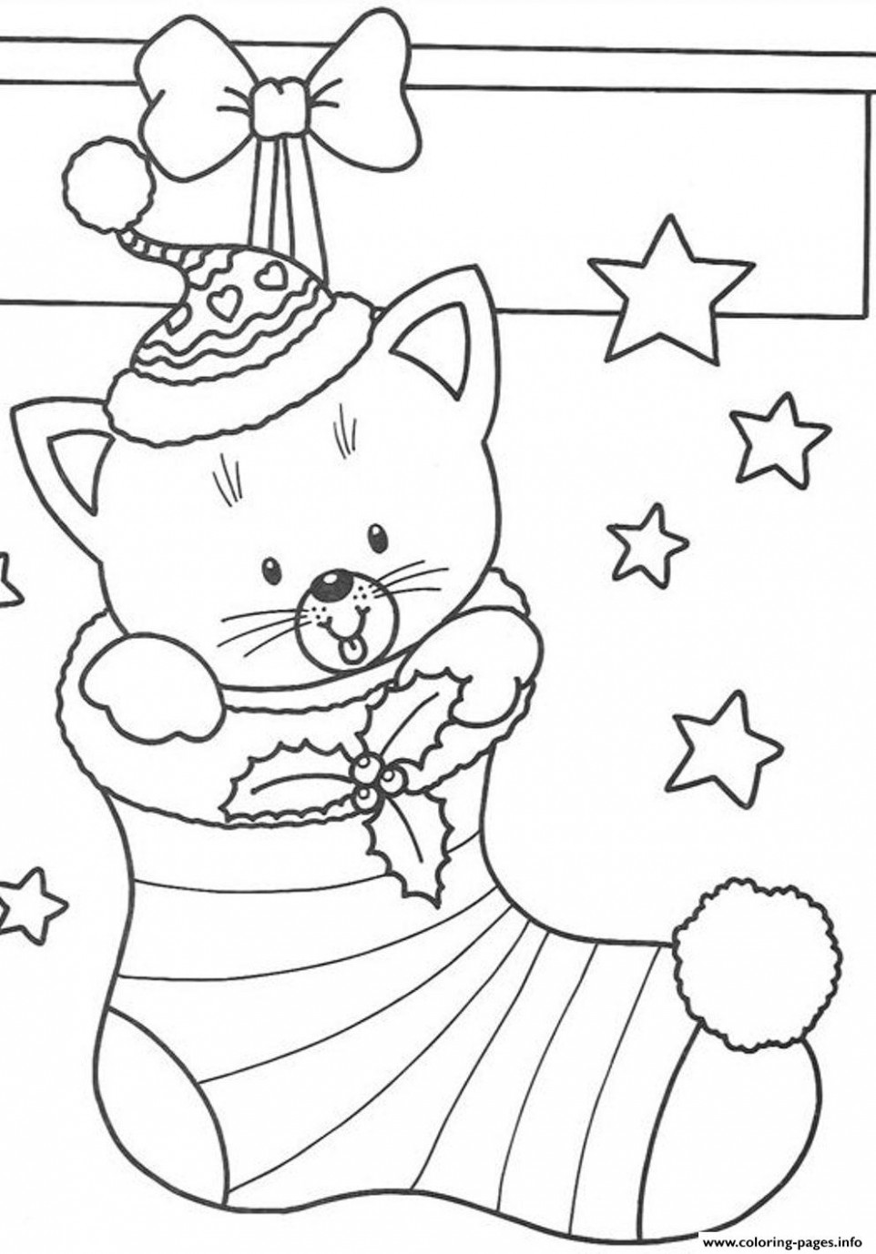Free S Christmas Cat In Stocking17a517 Coloring Pages Printable – Printable Christmas Cat Coloring Pages
