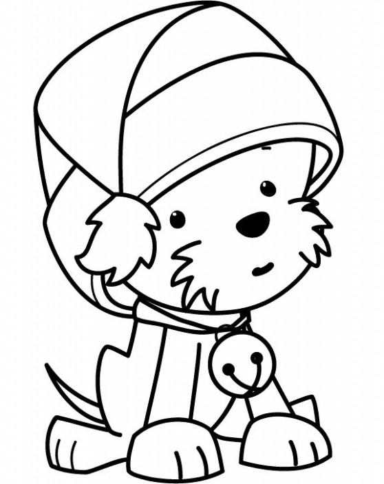 Funny Puppy Wearing Christmas Hat Coloring Pages   Coloring pages ..