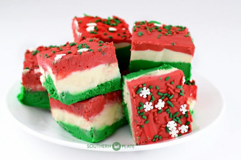 Fuss Free Christmas Fudge – Southern Plate – Christmas Colored Fudge