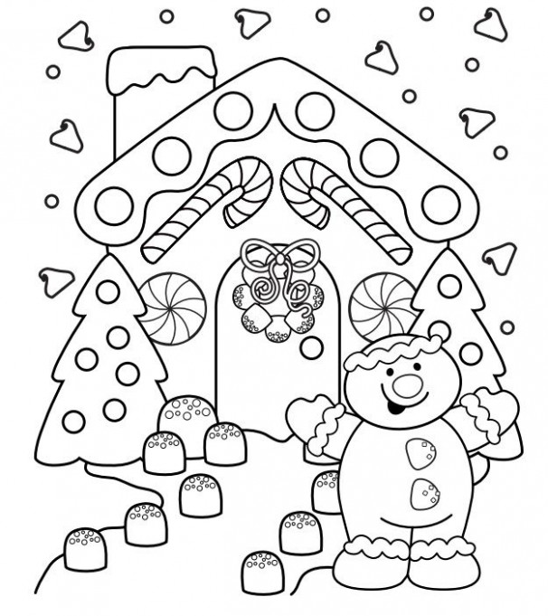 Gingerbread house and man | For Melissa | Free christmas coloring ...