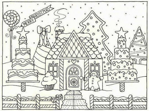 Gingerbread House Cake Coloring Pages | Kids Christmas | House ...