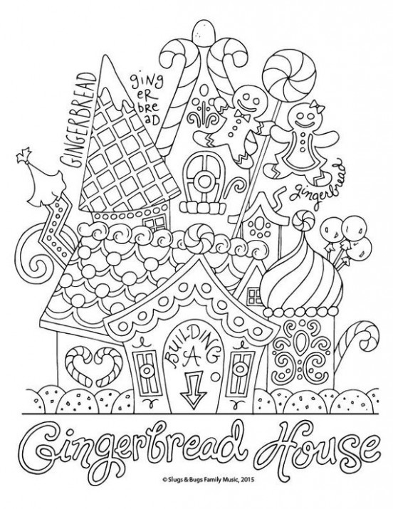 Gingerbread House / Christmas Coloring Page / Kids Holiday / Slugs ...