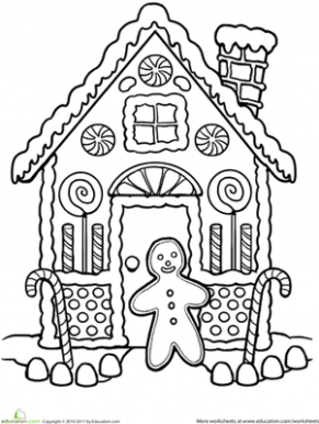 Gingerbread House Coloring | First grade winter party ideas | House ...