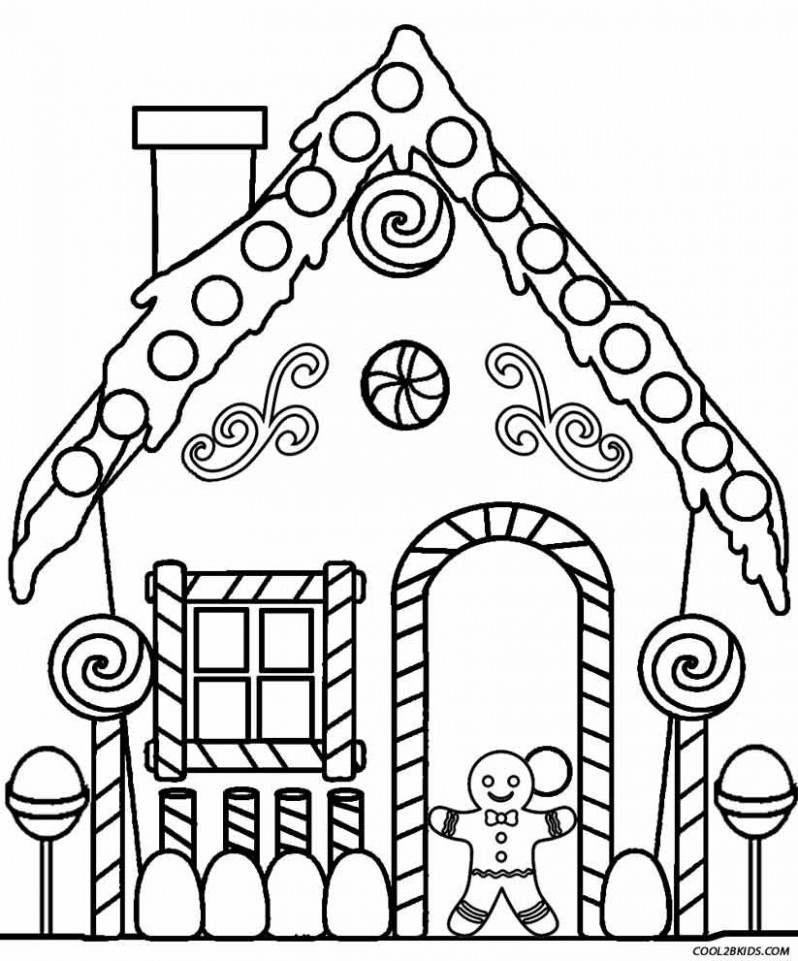 Gingerbread House Coloring Pages | Patterns/Printables/Templates ...