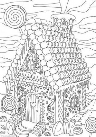 Gingerbread House | Coloring Pages | Printable adult coloring pages ...
