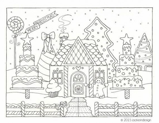 Gingerbread House Winter Scene – Coloring Page – PDF – Instant ..