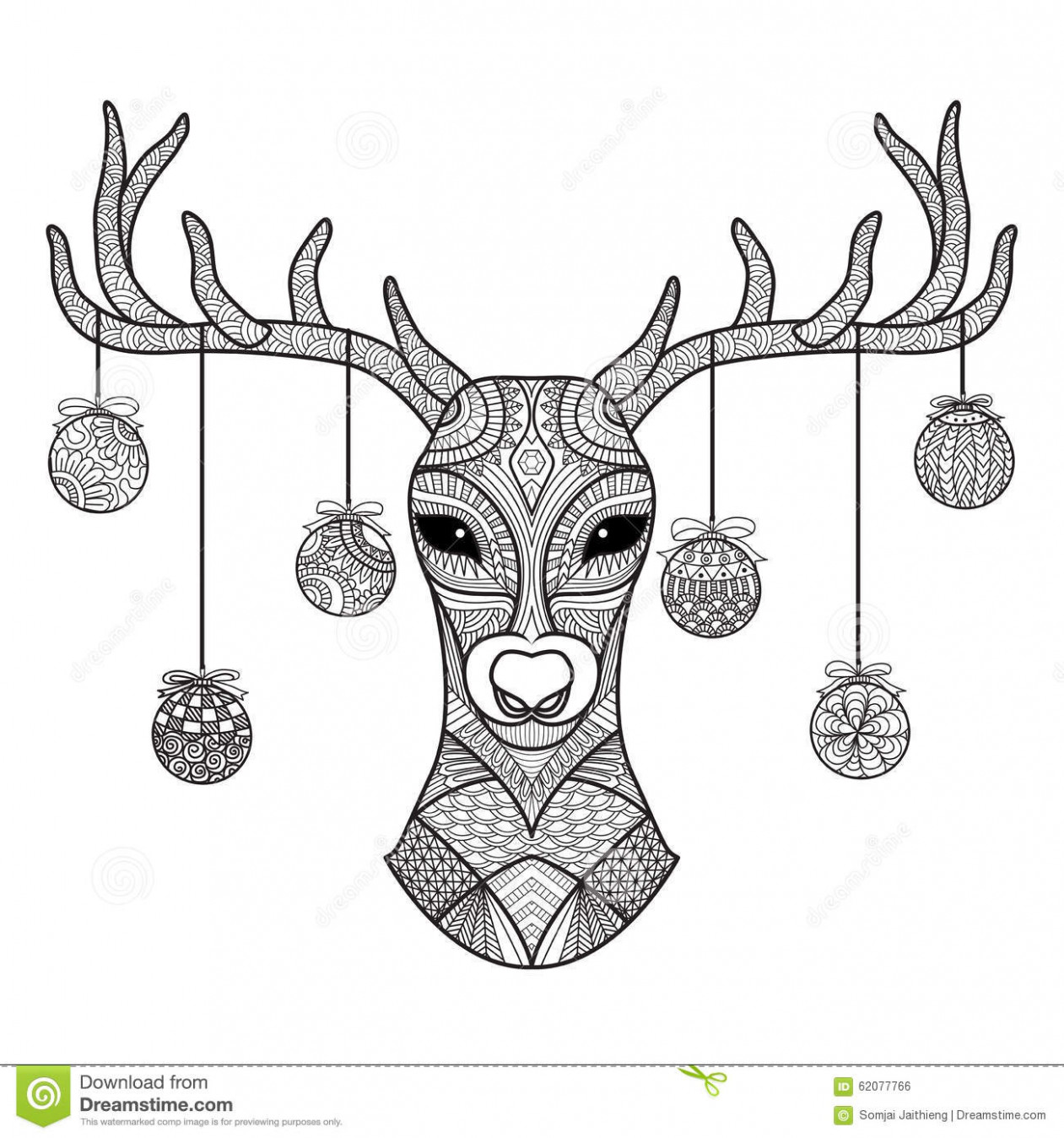 Hand Drawn Deer Head With Christmas Balls Hanging On Its Horn, For ..