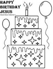 Happy Birthday Jesus Cake Coloring Pages | Christmas