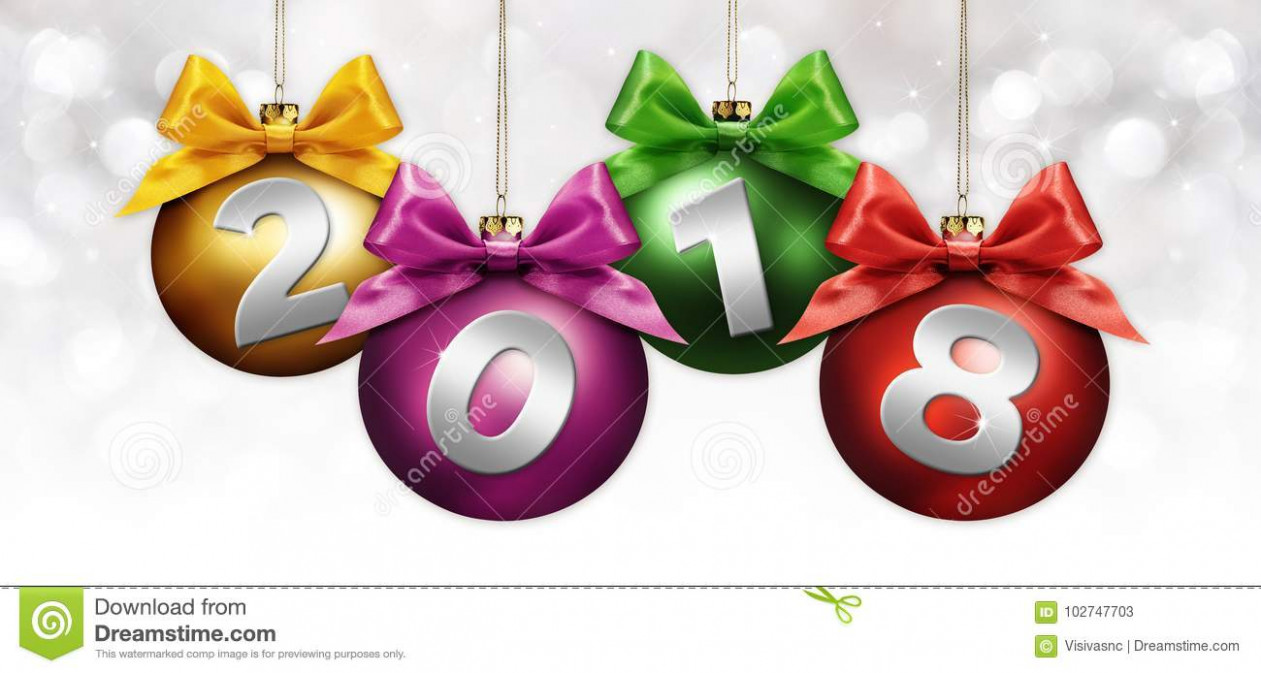 Happy New Year Christmas Balls With Colored Ribbon Bow And 18 ..