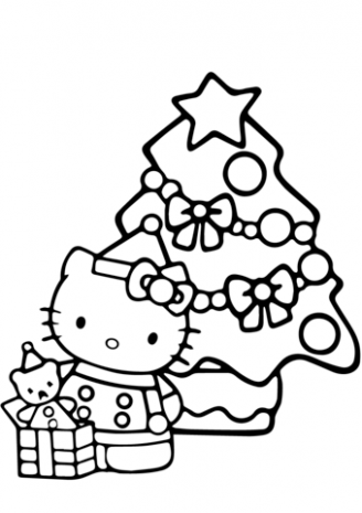Hello Kitty Christmas coloring page | Free Printable Coloring Pages