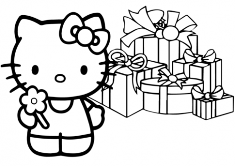 Hello Kitty Happy Christmas coloring page | Free Printable Coloring ...