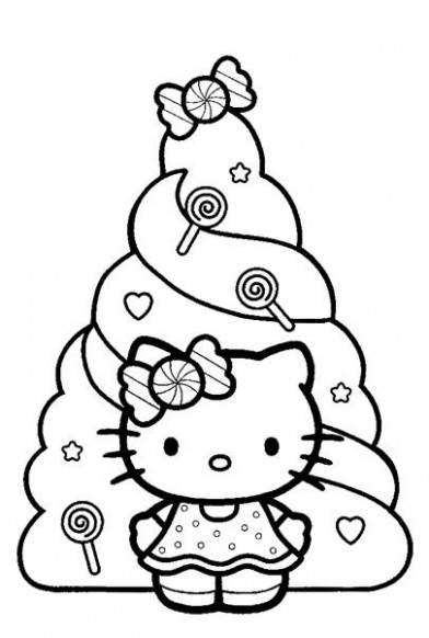 Here are two Hello Kitty Christmas colouring pages for you to print ..