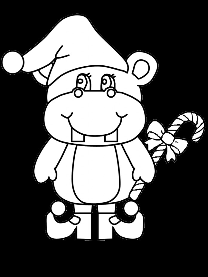 Hippo Christmas Coloring Pages coloring page  – Christmas Hippo Coloring Page