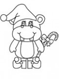 Hippopotamus Coloring Pages – Christmas Hippo Coloring Page