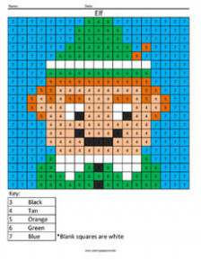 Holiday Coloring – Coloring Squared – Christmas Coloring Grid Worksheets
