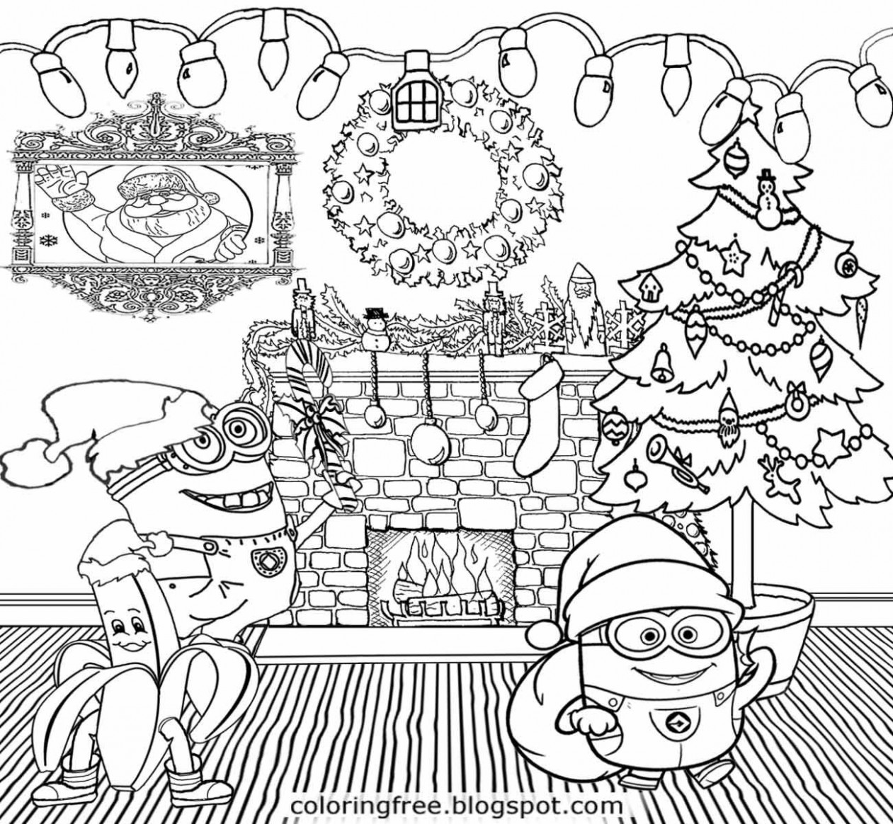 Holiday decorations merry Christmas Minions coloring pages cool ...