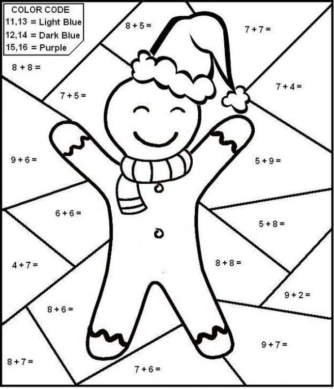 holiday math coloring worksheets. christmas coloring math worksheets ...