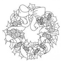 Holly and candy wreath coloring pages - Hellokids.com