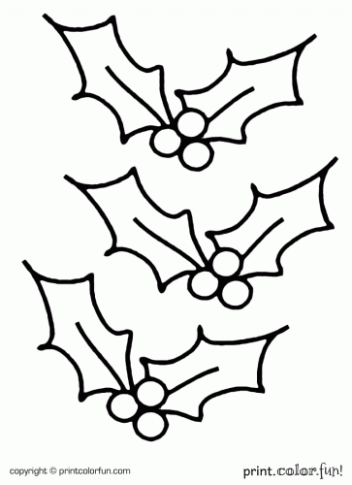 Holly Coloring Page – Exome Coloring – Christmas Holly Coloring Pages