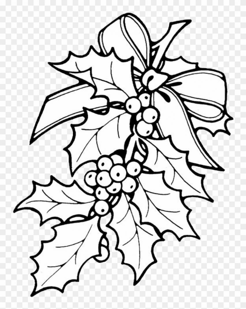 Holly Leaves Coloring Sheets Printable Christmas Ornament – Holly ..