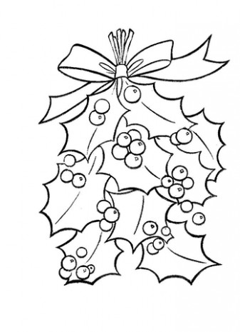 Holly Leaves With Bright Red Berries coloring page | Free Printable ..