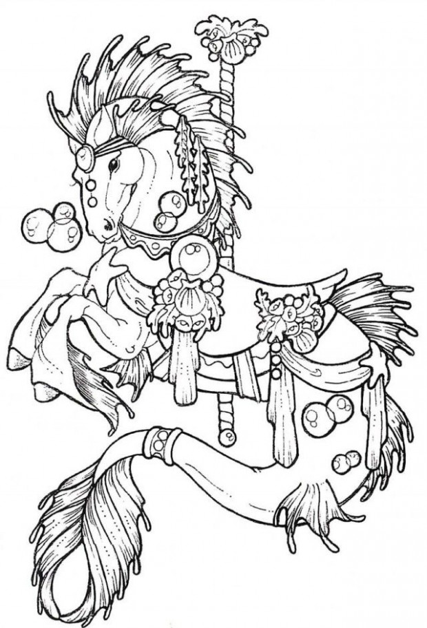 Horse Carousel Colouring Pages 15 Carousel Horse Coloring Page ..