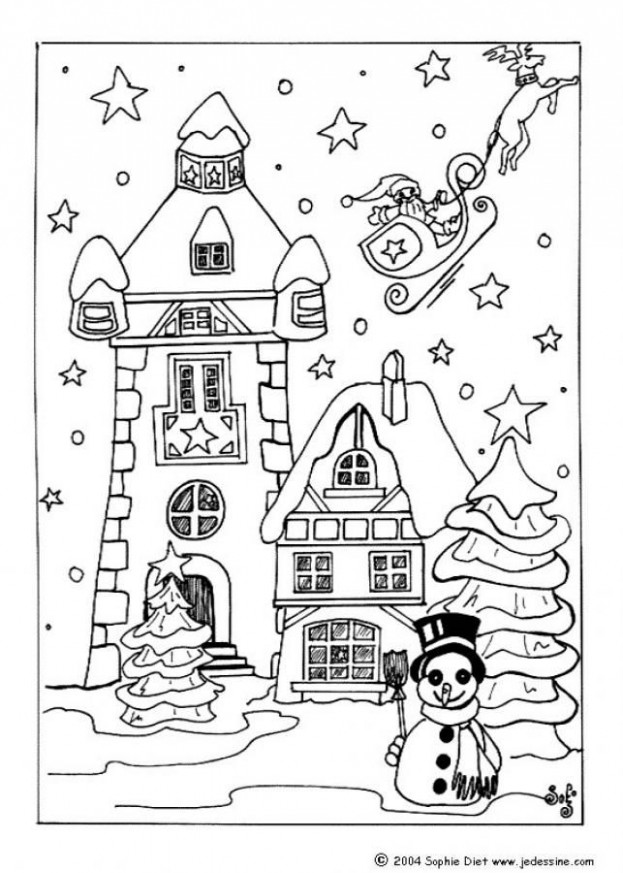 Houses to Color and Print for adults | CHRISTMAS VILLAGE coloring ..