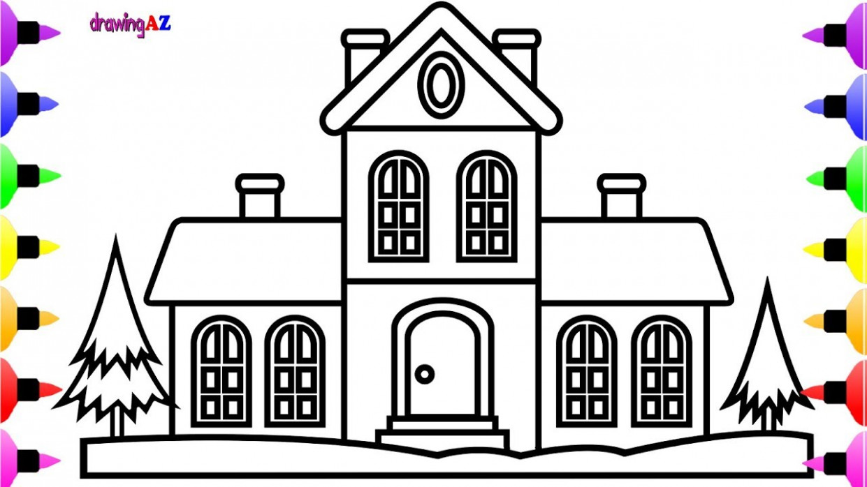 How to Draw Christmas House for Kids   Christmas Coloring Pages for ..
