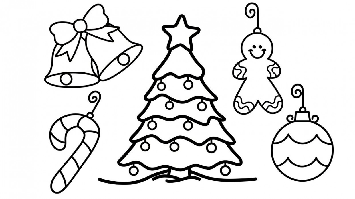 How to Draw Christmas Tree and Decorations for Kids - Christmas Tree ..